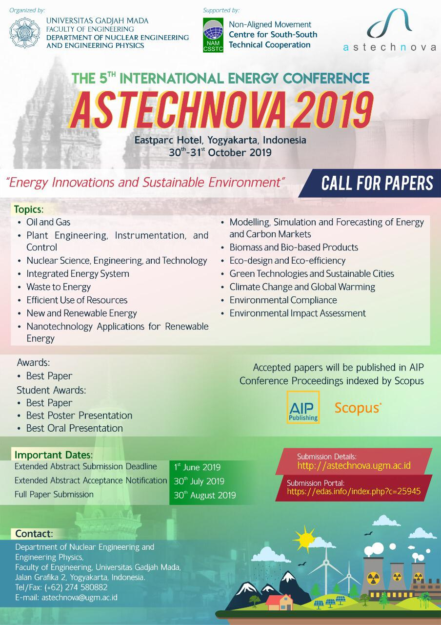 Call for Papers – International Energy Conference Astechnova
